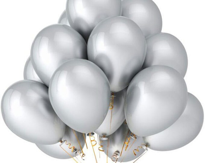 Silver Balloons - 12 Inch - 25 Metallic Looking Silver Grey Wedding, Holiday, Party Balloons