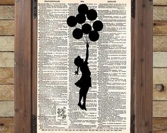 Banksy Girl with Balloons, street art, banksy print, vintage dictionary page book art print