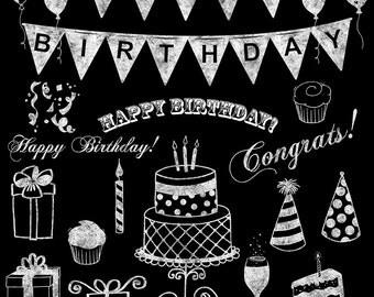 Chalkboard Clipart, Chalkboard Birthday Clip art, White Chalk Birthday Hand Drawn Clipart, Birthday Chalkboard Clipart for Invitations