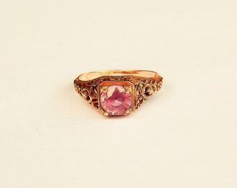 "Pink  Sapphire Rose Gold ""Love"" Engagement Ring"