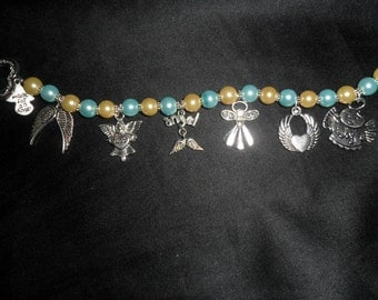 AngelMoon Creations - Crystal Glass Pearls with Antiqued Silver Finished Angels (7) - AM19