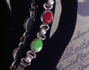 Ladies Sterling Silver 7 Multi Stone Bracelet 25.4 Grams !