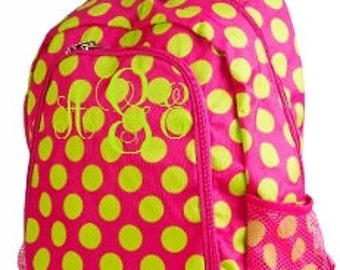 Monogrammed Polka dot Large Backpacks