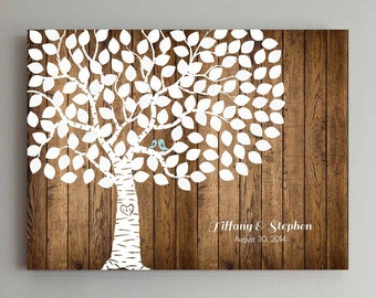 Wedding Guest Book - 125 Guest Wood Wedding Tree Wedding Guestbook Alternative Guestbook Poster Wedding Guestbook Poster - Wood design2