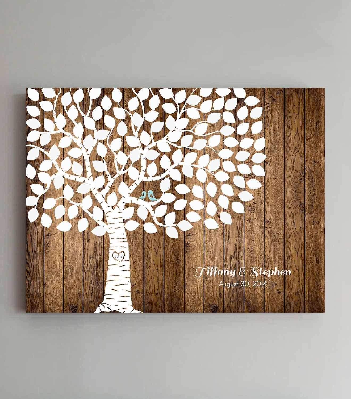 Wedding Tree Guest Book: Wedding Guest Book 125 Guest Wood Wedding Tree Wedding