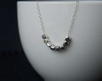 Sterling Silver Faceted Nugget Bead Necklace, Sterling Silver Necklace, Faceted Bead Necklace