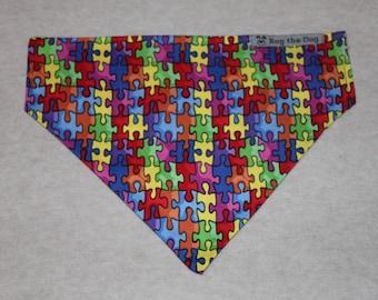 Autism Awareness Puzzle Patterned Dog Bandana in Small, Medium & Large