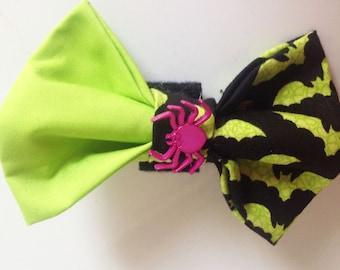 Halloween  Bat Dog Collar Bow Tie with Spider