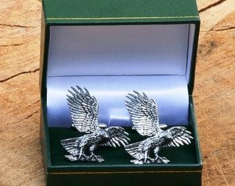 Eagle Landing Cufflinks Pewter UK Handmade Falconry Gift