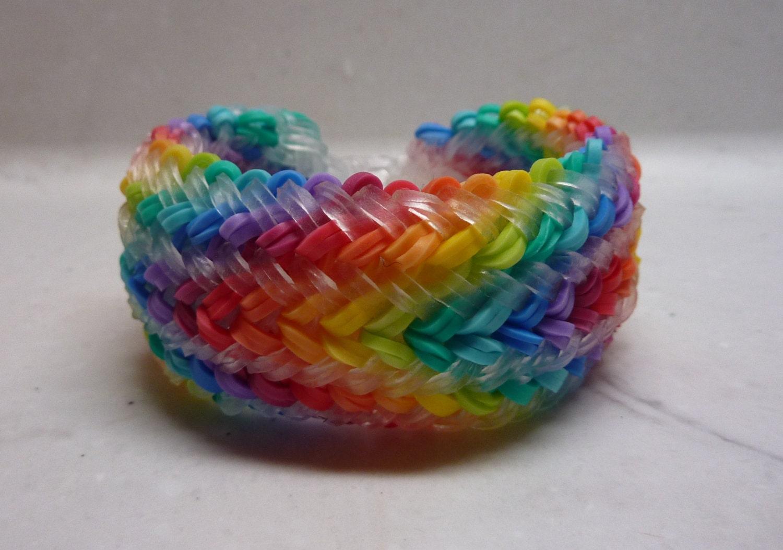 rainbow loom snake belly bracelet rainbow w clear jelly