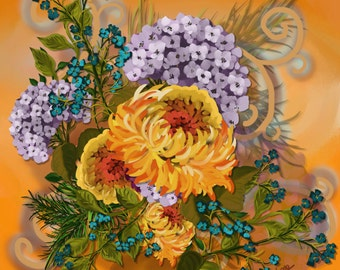 "Floral painting print, Original digital painting ""Golden Glow""  Golden Mums and Lavender Hydrangeas with Swirls"