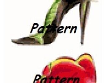 Flower shoes. Cross Stitch Pattern. PDF Files.