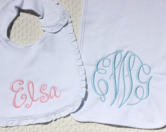Monogrammed Bib and Burp Cloth Set for Baby Girl