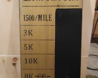 Running Distances Chalkboard Personal Record Goal Times Team rustic board sign