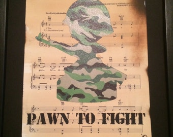 Stencil art work, chess pawn soldier silhouette, hand cut finish, with army cammo bacground, quirky wall art, home decor A4/A3