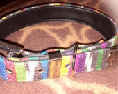 "Medium Leather Multiple Colors Pattern Dog Collar 13""-17"""