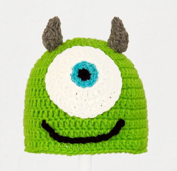 Mike Wasowski Hat from Monsters Inc. Green Crochet / Knit