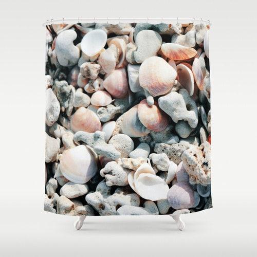 Seashell Shower Curtain Washable Fabric Nature Home Decor
