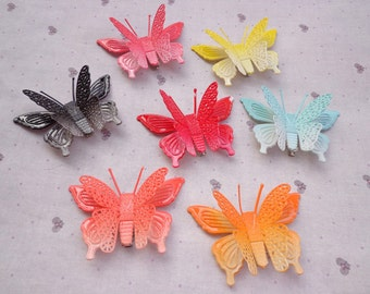 SALE--50 pcs (7 colors) butterfly hair clips Mixed colors