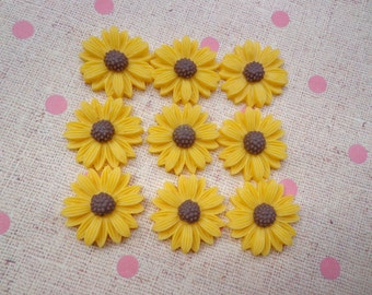 Flower Cabochons Resin Flowers 50pc yellow Color Resin Sunflower Charms--22mm
