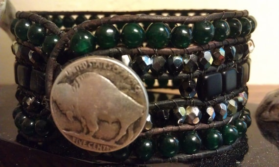 Dark green, black and silver/gold beaded leather cuff with metal button