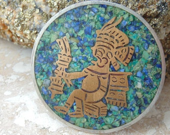 Mexican Sterling Silver and Brass Warrior with Crushed Stone in Enamel Brooch