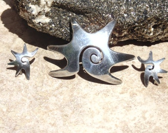 Carmen Beckmann (Bekmann) ~ Vintage Sterling Silver Spiral Star Brooch with Matching Screw-back Earrings