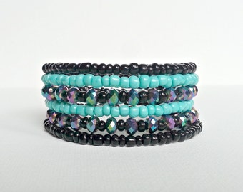 Memory wire bracelet. Black AB crystal with turquoise accents