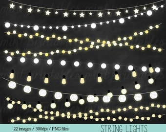 Lights Clipart, Fairy Lights Clipart Clip Art, String Lights Clipart, Holiday Christmas Lights - Personal & Commercial - BUY 2 GET 1 FREE!