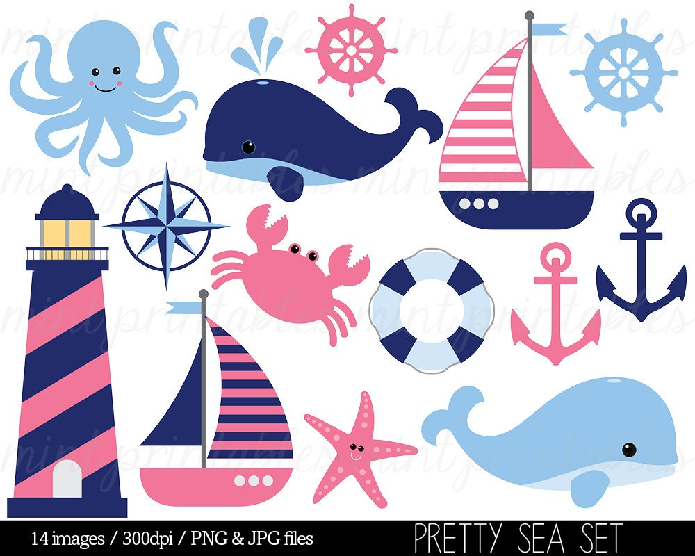 Nautical Clipart Clip Art Anchor Clipart Blue Pink Whale