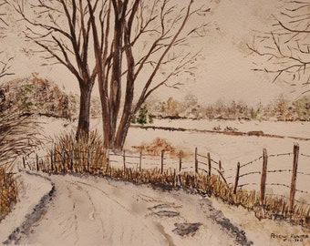 landscape scene,snowy road,Watercolor painting, long snowy road, winter scene, scenic snow, landscape scene, watercolor painting,art