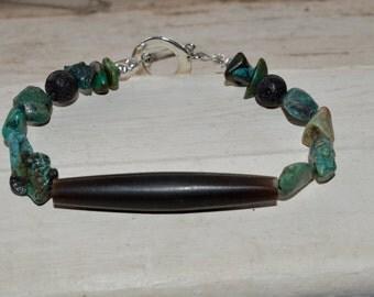 MENS TURQUOISE & HORN Bracelet, mens animal horn bracelet, mens turquoise bracelet, horn and turquoise bracelet, native animal horn bracelet