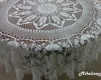 Round Crochet Tablecloth, Beautiful Gift, Milky White, 100% Linen, Table Decoration