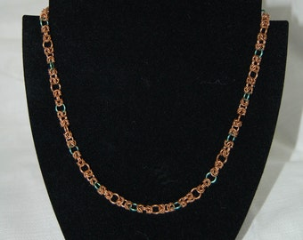 Bronze and niobium chainmaille necklace