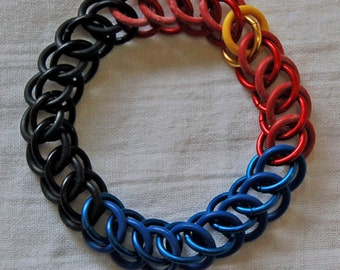 Stretchy Polyamory Poly Pride chainmaille bracelet