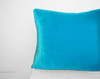 Turquoise Pillow Cover. Velvet (pictured) or Cotton. Decorative Pillow