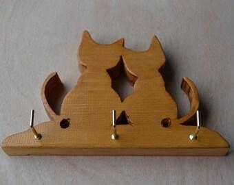 Handmade cat  shaped pine key holder