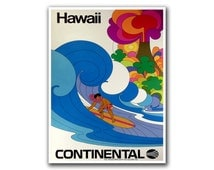 Retro Poster Hawaii Travel Decor Surfing Art Retro Decor Print (H131)