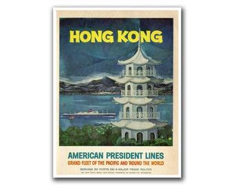 Hong Kong Art Vintage Travel Poster Asian Decor (H226)