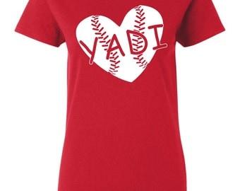 Yadi heart baseball T shirt, or V neck  white ink, custom design on red shirt. Limited Edition