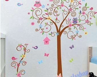 owl tree wall decal owl tree decal for Nursery wall Vinyl Owl decal owl tree wall stickers girls owl decal