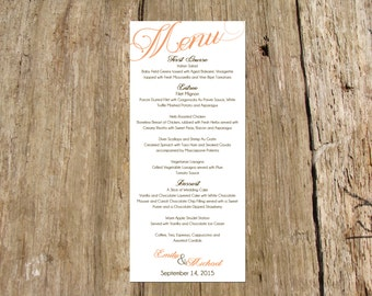 Wedding Menu,  DIY Printable PDF File