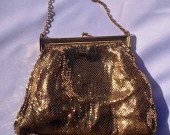 Vintage Whiting & Davis Designer Gold Metal Mesh Clutch, Evening Bag, Art Deco, Great Gatsby, Wedding, Prom, Bride, 20s Party