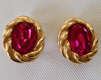 Vintage Donald Stannard Oval Clip Earrings, Magenta Rhinestone Twisted Gold Tone Frame - Wedding, Mother of the Bride Runway
