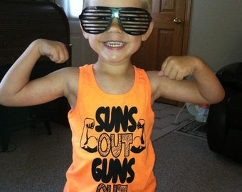 kids suns out guns out tank top t shirt youth cute summer sleeveless awesome cool humor funny boys children tee