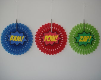 Super Hero Bam Pow Zap birthday party fan rosette wall decoration banner Set of 3 superhero