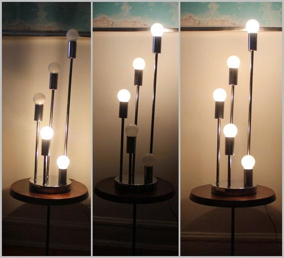 Vintage Chrome 5 Bulb Table Lamp Sputnik Space Age Tiered 3