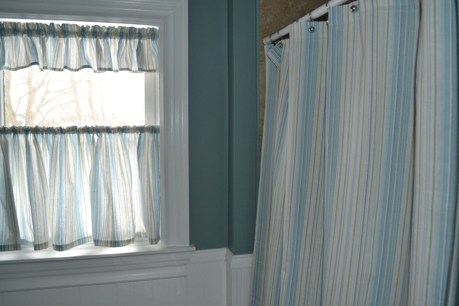 to bathroom shower curtain with matching window curtain on etsy