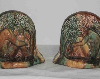 Rare 1930's Calco Adam & Eve Bookends