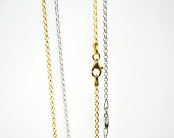 "60cm/23.62"" 925 Solid Sterling Silver Chain, Silver or Silver 24K Yellow Gold Plated"